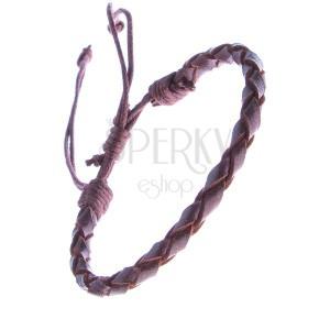 Gömbölyű, fonott karkötő bőrből sötétbarna színben