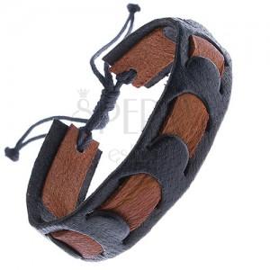 Bőrkarkötő - fekete szíj ovális kivágásokkal