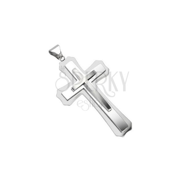Hármas kereszt minőségi acélból - méretes ezüst medál