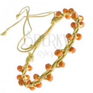 Sárga barátságkarkötő - fényes narancssárga gyöngyök