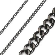 Sebészeti acélból készült csiszolt, fényes fekete nyaklánc