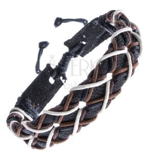 Fekete karkötő bőrből - kereszt alakba font zsinórok