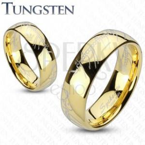 Karika gyűrű volfrámból, arany szín, Gyűrűk ura motívum