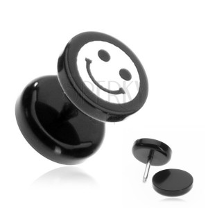 Fül plug akrillból - smile motívum fekete karikán
