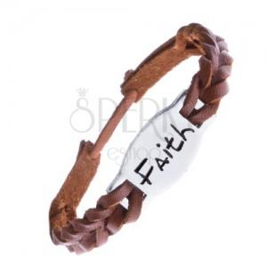 """Keskeny karkötő bőrből - karamellszínű, """"FAITH"""" tábla"""