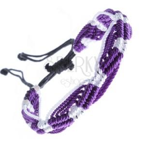 Színes kötött karkötő - lila-fehér hullámzó minták