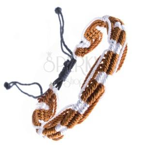 Színes kötött karkötő - világosbarna és fehér színekben