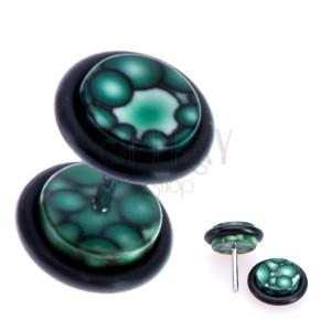 Zöld fake plug akrilból - buborék motívum a korongon