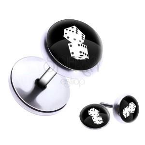 Kerek fake plug a fülbe acélból - játékkockák, fénymáz