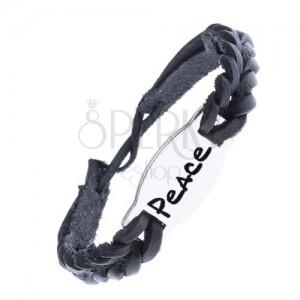 """Fonott bőr karkötő - fekete, acél tábla """"PEACE"""" felirat"""