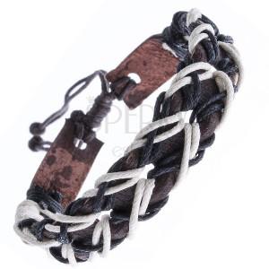Barna bőr karkötő, lyukacsos, kétszínű madzagokkal