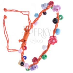 Narancssárga zsinóros karkötő - színes gyöngyök és virágok