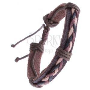 Barna színű bőrkarkötő - fonat három madzagból