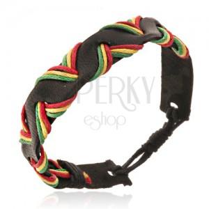 Fekete bőr karkötő - háromszínű fonott zsinórok