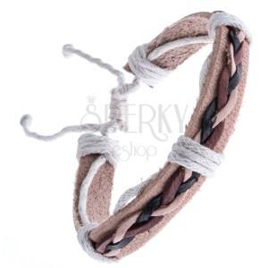 Bézs színű karkötő bőrből - háromszínű madzagfonat