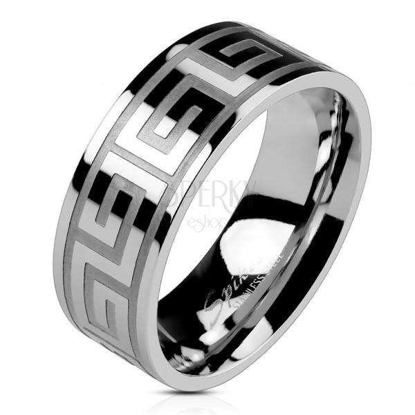 Gyűrű acélból, ezüst színben, fényes felület, görög kulcs, 8 mm