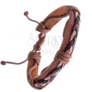 Karkötő bőrből - karamellbarna szín, madzagfonattal