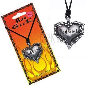 """Tövisekkel körülölelt szív alakú nyakék """"Bad girl"""" felirattal"""