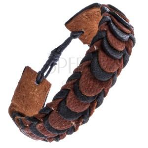 Fekete-barna színű rakott bőrkarkötő, pikkelyes minta