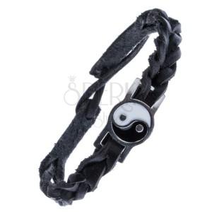 Fekete, fonott karkötő bőrből - acéldísz, Yin és Yang