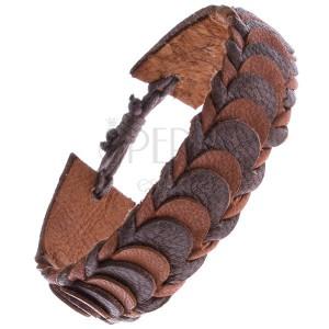 Barna színű karpánt bőrből - pikkely minta bőrszalagokból