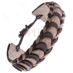 Karkötő bőrből - barna és bézs rakott szelvények