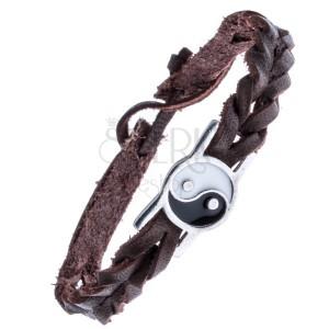 Barna színű, fonott bőrkarkötő - acélérme, Yin és Yang