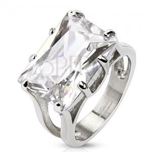 Gyűrű sebészeti acélból - hatalmas, csiszolt, tiszta, téglalap alakú cirkónia