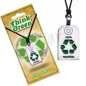 ÖKO nyaklánc - fényes tábla az újrahasznosítás jelével