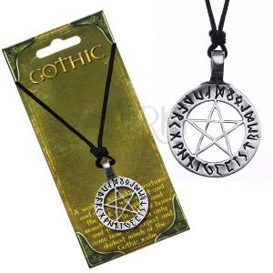 Nyaklánc zsinórral - mágikus pentagram rúnajelekkel a körben