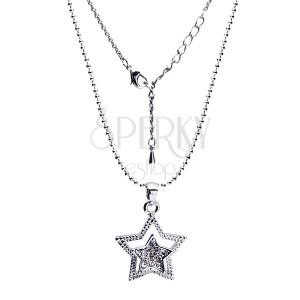 Fényes nyaklánc kettős csillag medállal, cirkóniák