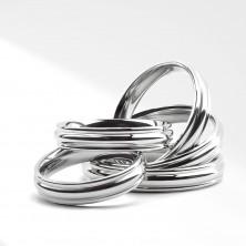 Fényes gyűrű sebészeti acélból - domború középső sáv