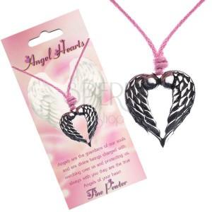 Zsinóros nyakék, szív alakú medál két angyal szárnyból