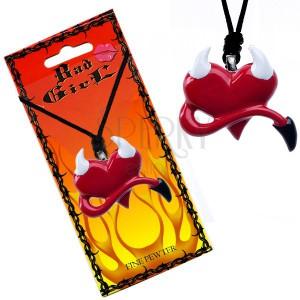 Nyaklánc szív alakú medállal, ördög szarvak és farok