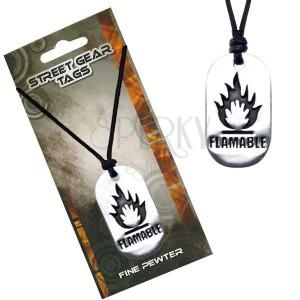 Fekete nyaklánc, fényes fémtábla, gyúlékony anyagok jelölés