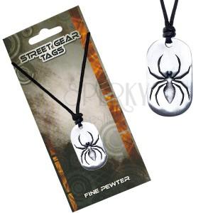 Madzagos nyaklánc, fém medál, pók ábra