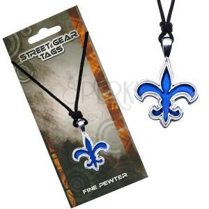Madzagos nyaklánc kék medállal, Fleur de Lis