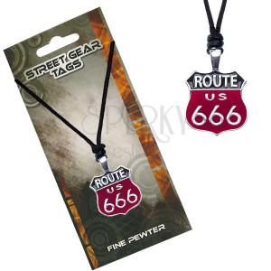 Fekete nyaklánc zsinórral - a 666-os út jelölése