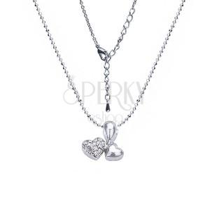 Ezüst színű nyakék medállal - két összekapcsolt szív