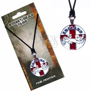 Madzagos nyaklánc medállal, angol zászló oroszlánnal
