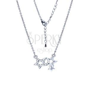 Ezüst színű ródiumozott nyakék, medál három csillagból cirkóniákkal