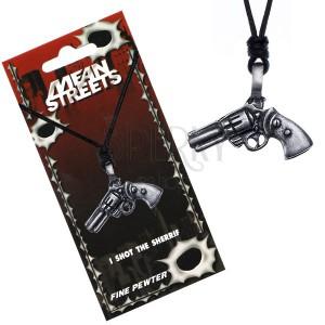 Fekete nyaklánc madzaggal - medál, revolver