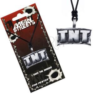 """Madzagos nyaklánc, medál fémből - tábla """"TNT"""" felirattal"""