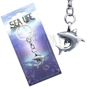 Kulcstartó - fémmedállal, fényes cápa