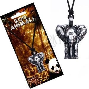 Nyaklánc zsinóron, patinás, elefánt formájú medál