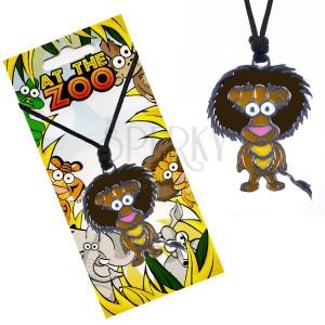 Fekete nyaklánc zsinórral, színes, oroszlán alakú medállal