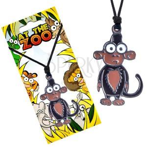 Nyaklánc madzagon, háromszínű medál, majom