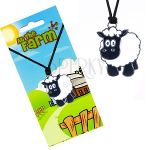 Madzagos nyaklánc medállal, fekete-fehér bárányka