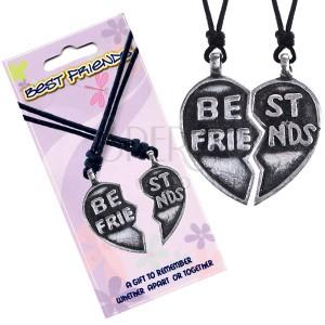 """Nyaklánc BEST FRIENDS – elfelezett szív """"Best Friends"""" felirattal"""