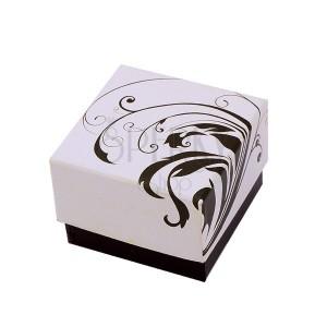 Barna-bézs színű ajandékdoboz tekeredő levél mintázattal